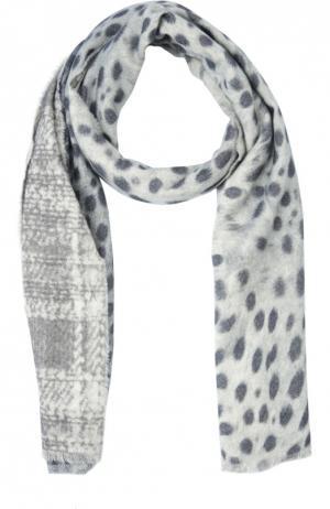 Кашемировый шарф с принтом Franco Ferrari. Цвет: серый