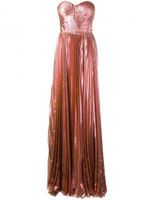 Плиссированное платье-бюстье Maria Lucia Hohan. Цвет: розовый и фиолетовый
