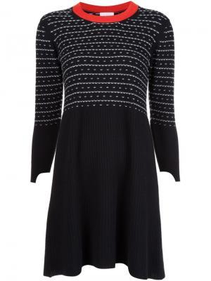 Платье с контрастной горловиной Barrie. Цвет: чёрный