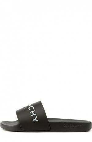 Резиновые шлепанцы с логотипом бренда Givenchy. Цвет: черный