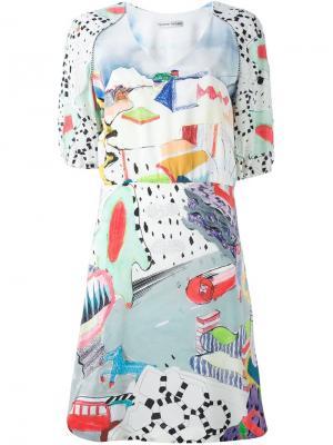Платье с рисунком и рукавами-баллон Tsumori Chisato. Цвет: многоцветный