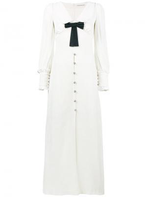 Бархатное платье с V-образным вырезом Alessandra Rich. Цвет: белый