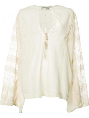 Блузка с кружевными панелями Veronique Branquinho. Цвет: телесный