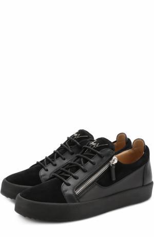 Комбинированные кеды Frankie на шнуровке Giuseppe Zanotti Design. Цвет: черный