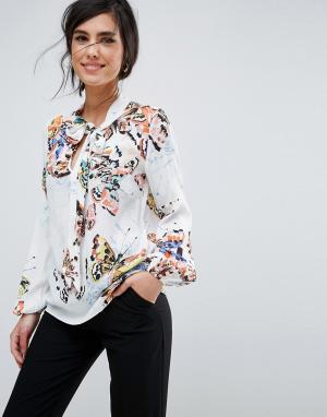 Closet London Рубашка с цветочным принтом. Цвет: мульти