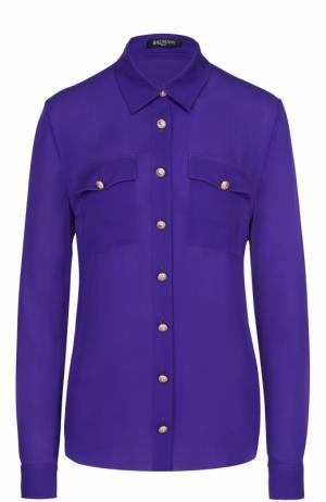 Шелковая блуза с накладными карманами и контрастными пуговицами Balmain. Цвет: фиолетовый