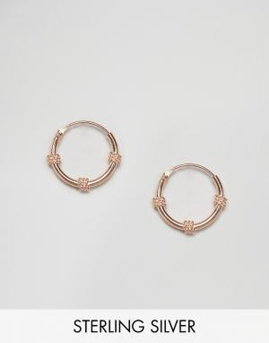 Kingsley Ryan Покрытые розовым золотом серьги-кольца Bali. Цвет: золотой