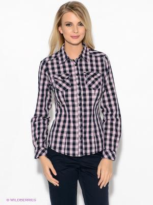 Рубашка Oodji. Цвет: темно-синий, розовый, белый