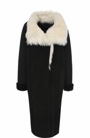 Удлиненная дубленка с карманами Tegin. Цвет: черно-белый