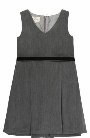 Приталенное платье с защипами и поясом Caf. Цвет: серый