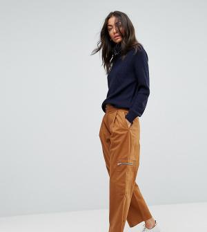 ASOS Tall Светло-коричневые укороченные брюки с молниями DAPHNE. Цвет: бесцветный
