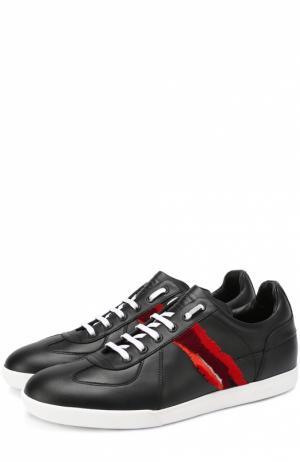 Кожаные кеды на шнуровке с контрастной отделкой Dior. Цвет: черный