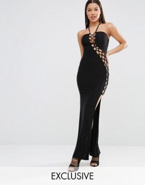 Club L Платье макси с решеткой из лямок Sexy Dare. Цвет: черный