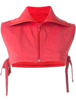 Укороченная блузка на молнии Facetasm. Цвет: красный