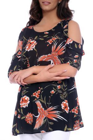 Блуза Emma Monti. Цвет: black and floral print