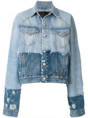 Состаренная джинсовая куртка R13. Цвет: синий