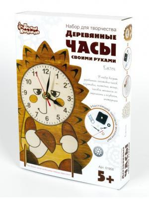 Набор для творчества. Деревянные часы своими руками. Ёжик Десятое королевство. Цвет: светло-коричневый, белый, горчичный