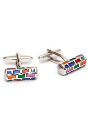 Запонки разноцветные Churchill accessories. Цвет: серебристый
