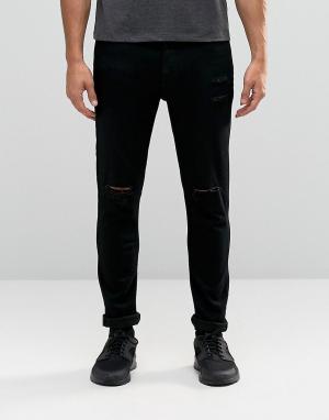 Antioch Облегающие рваные джинсы. Цвет: черный