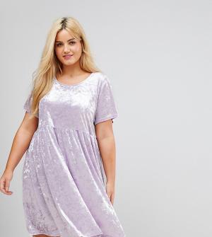 Alice & You Свободное платье из мятого бархата. Цвет: фиолетовый