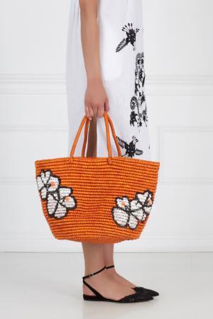 Соломенная сумка Sensi Studio. Цвет: терракотовый, голубой