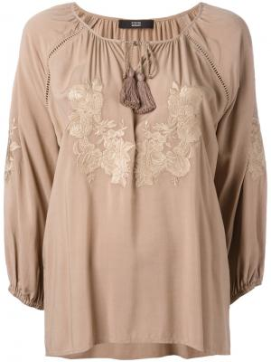 Блузка с цветочной вышивкой Steffen Schraut. Цвет: коричневый