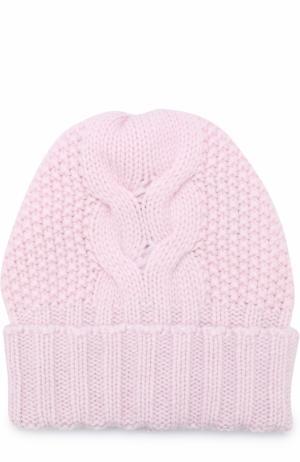 Кашемировая шапка фактурной вязки Kashja` Cashmere. Цвет: светло-розовый
