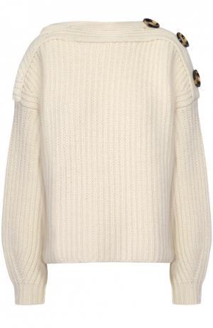 Укороченный пуловер фактурной вязки с декоративной отделкой Acne Studios. Цвет: белый