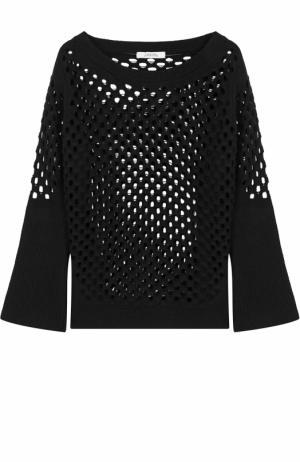 Шерстяной пуловер с перфорацией и круглым вырезом Dorothee Schumacher. Цвет: черный