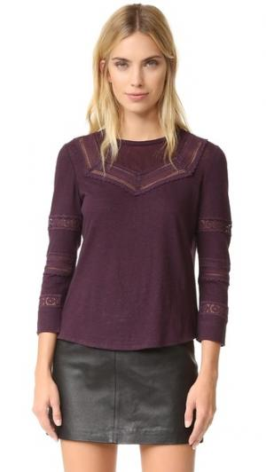 Пуловер с кружевной отделкой La Vie Rebecca Taylor. Цвет: инжир