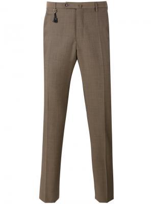 Классические брюки кроя слим Incotex. Цвет: коричневый