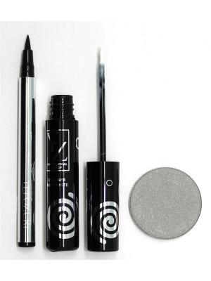 Промо-набор  декоративной косметики YZ (подводка для глаз 2 шт +тени век YZ) ИЛЛОЗУР. Цвет: черный, белый, серый