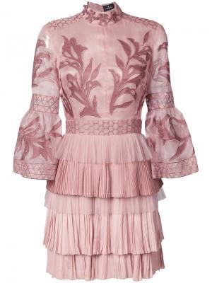 Платье мини с вышивкой J. Mendel. Цвет: розовый и фиолетовый