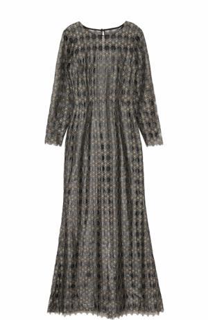 Приталенное платье-макси с длинным рукавом St. John. Цвет: серебряный