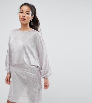 ASOS Maternity Платье мини для беременных в стиле oversize. Цвет: серый