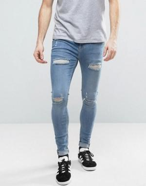 Brooklyn Supply Co. Обтягивающие джинсы скинни с потертостями Co. Цвет: синий