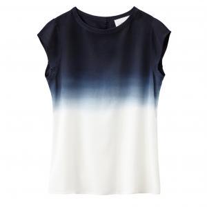 Блузка с короткими рукавами и принтом тай энд дай SUD EXPRESS. Цвет: черный/экрю