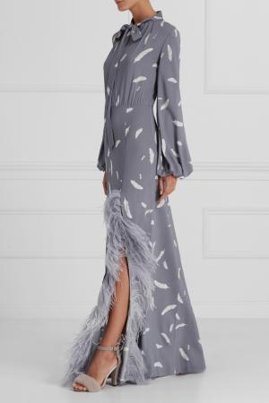 Драпированное платье с перьями A LA RUSSE. Цвет: серый