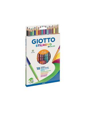 Giotto STILNOVO BICOLOR, Цветные двусторонние гексагональные карандаши, 18шт - 36цв FILA. Цвет: желтый, белый, синий