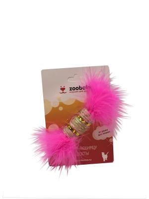 Игрушка для кошки Сизалевая когтеточка цилиндр с марабу 15см(с кош  мятой) Zoobaloo. Цвет: розовый