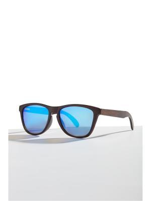 Бамбуковые очки Барселона Nothing but Love. Цвет: темно-коричневый, голубой