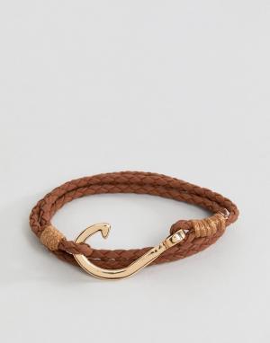 Burton Menswear Коричневый плетеный браслет. Цвет: коричневый