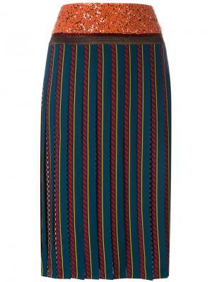 Плиссированная юбка Tory Burch. Цвет: зелёный