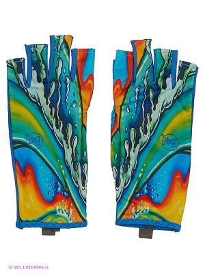 Перчатки рыболовные BUFF Water Gloves. Цвет: синий, голубой, серый