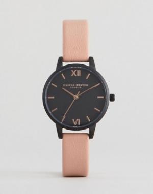 Olivia Burton Часы с черным циферблатом и розовым кожаным ремешком Aft. Цвет: розовый