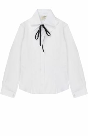 Хлопковая блуза с воротником аскот и бантом Caf. Цвет: белый