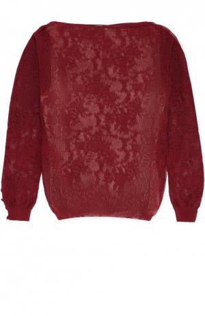 Полупрозрачный облегающий пуловер с вырезом-лодочка Oscar de la Renta. Цвет: бордовый