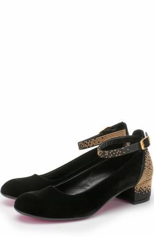 Замшевые туфли с ремешком и стразами Missouri. Цвет: черный