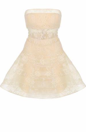 Кружевное платье-бюстье с пышной юбкой Basix Black Label. Цвет: бежевый