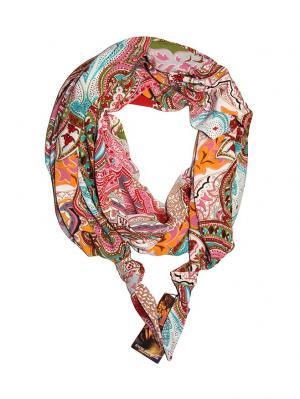 Двойной шелковистый шарф-долька с узелками; серия Апрель Оланж Ассорти. Цвет: бирюзовый, малиновый, светло-бежевый